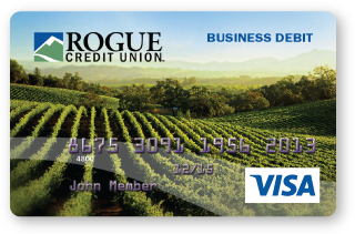 Rogue Business visa, vineyard card design