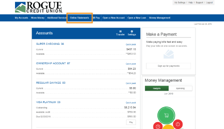 online statements menu option in online banking accounts page