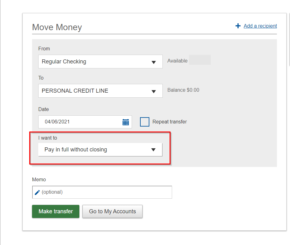 Pay in full without closing